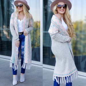 BOHO CHIC AZTEC Open front Cardigan- Multi…